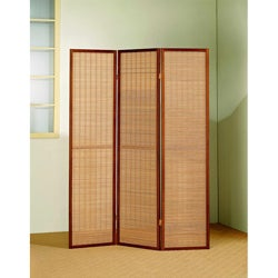 Cherry Wood Framed 3-panel Room Divider