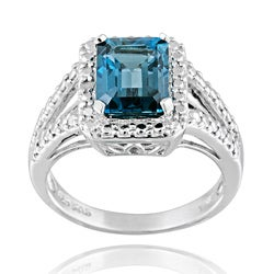 Glitzy Rocks Silver 3 2/5ct TGW London Blue Topaz and Diamond Ring