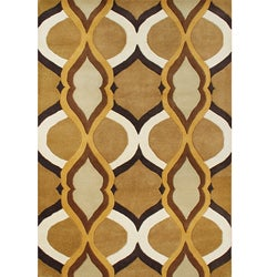 Hand-made Metro Brown Sugar New Zealand Blend Wool Rug (5' x 8')