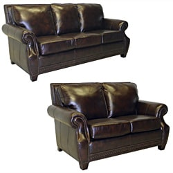 Salem Rustic Brown Italian Leather Sofa and Loveseat Set