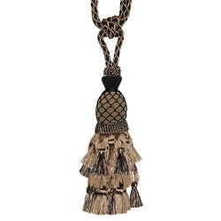 Taupe/ Black Designer Tassel Tiebacks (Set of 2)