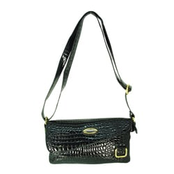 Ronella Lucci Vecceli Black Crocodile Embossed Crossbody