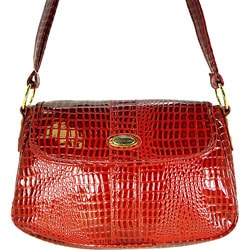 Ronella Lucci Vecceli Alligator Embossed Red Crossbody