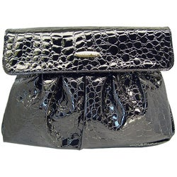 Ronella Lucci Vecceli Italy Crocodile Embossed Black Clutch