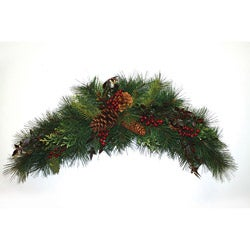 Good Tidings 2291 Mixed Long Needle Pine with Cones/ Berries Crescent Swag