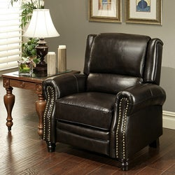 Sierra Dark Brown Pushback Italian Leather Recliner