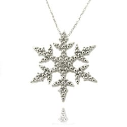 Finesque Silver Overlay Diamond Accent Snowflake Necklace