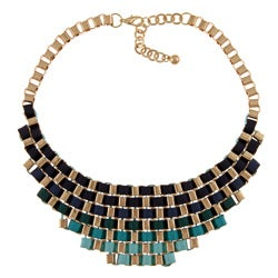 Nexte Jewlery Goldtone Blue Ribbon Fashion Bib Necklace