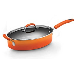 Rachael Ray Hard Enamel Cookware 5-quart Covered Oval Saute with Helper Handle, Orange 2-tone