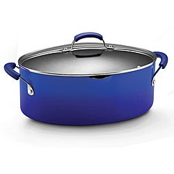 Rachael Ray Hard Enamel Cookware 8-quart Covered Pasta Etc. Pot, Blue 2-tone