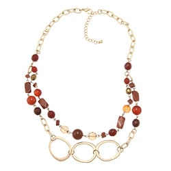 Alexa Starr Goldstone and Carnelian Two-row Necklace