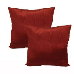 Moire Red Throw Pillows (Set of 2)