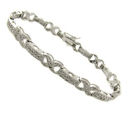 Finesque Silver Overlay Diamond Accent 'X' Link Bracelet