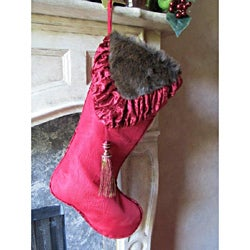 Christmas Noel Fur Velvet Stocking by Selections by Chaumont