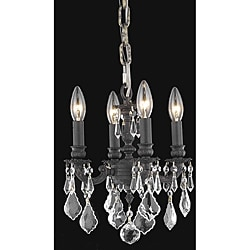 Crystal 4-light Dark Bronze Finish Chandelier