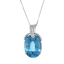 Kabella 14k White Gold Blue Topaz and Diamond Accent Necklace