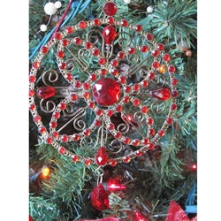 Red Crystal Medallion Christmas Ornament (Set of 2)