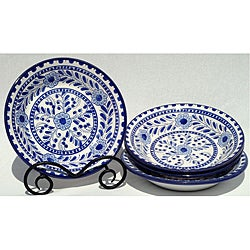 Set of 4 Azoura Design Round 9-inch Salad Bowls (Tunisia)