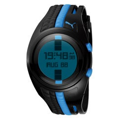 PUMA Men's 'Shift' Black and Blue Digital Watch