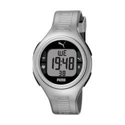Puma Unisex 'Pulse' Metallic Silvertone Digital Heart Monitor Watch
