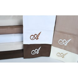 Egyptian Cotton 300 Thread Count Solid Script 'A' Monogram Sheet Set