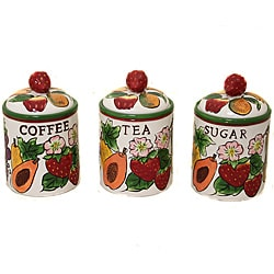 Fruit Medley Collection Deluxe Hand-painted 3-piece Canister Set