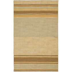 Flat Weave Gold/ Brown Striped Wool Rug (4&#39; x 6&#39;)