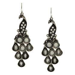 Kate Bissett Silvertone Peacock Earrings