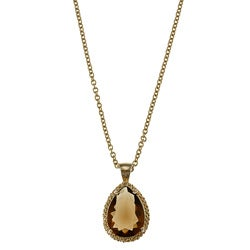 Kate Bissett 14k Goldplated Brown and Yellow Cubic Zirconia Necklace