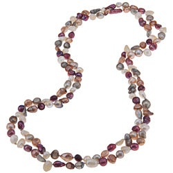 Multi-colored Baroque Freshwater Pearl 60-inch Endless Necklace (6-8 mm)