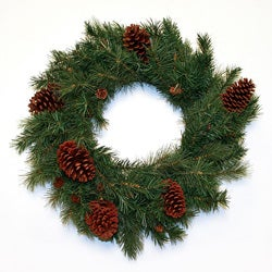 Good Tidings 24-inch Pembroke Hard Needle Pine Cones Wreath