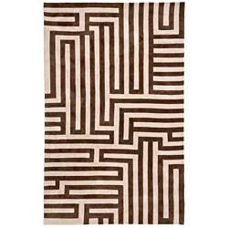 Hand-tufted Geometric Brown Rug (7'6 x 9'6)