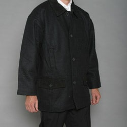 Trenders Men's Black Wool-blend Coat