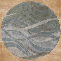 Handmade Classic Grey/Green Wool Area Rug (8&#39; Round)