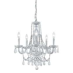 Transitional 6-light White Crystal Chandelier