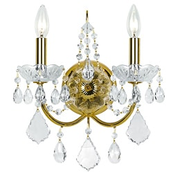 Traditional 2-light Gold Crystal Wall Sconce