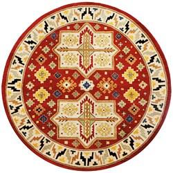 Hand-tufted Virtu Red Wool Rug (8' Round)