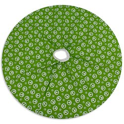 Holiday Peace Duck White/ Chartreuse Reversible Holiday Tree Skirt