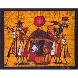 'Back at the Village' Batik Tapestry (Mozambique)