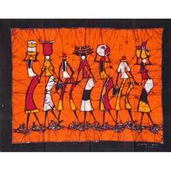 'The Days Catch' Batik Tapestry (Mozambique)