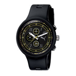 Puma Men's 'Slick' Black and Yellow Chronograph Watch