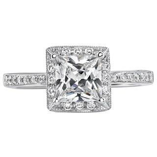 18k White Gold 1ct TDW Certified Princess Diamond Engagement Ring (I, SI3)