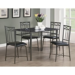 Black Marble and Metal 5-piece Dining Set