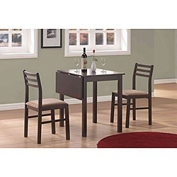 Cappuccino 3-piece Solid Top Drop-leaf Dinette Set