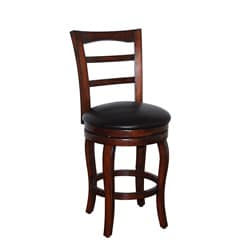 Walnut and Dark Brown Leather Swivel Barstool