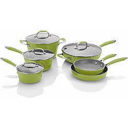 Michelle B's 10-piece Lemon Lime Forged Aluminum Cookware Set