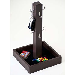 Brown Wood Key Tree with Felt Lined Tray