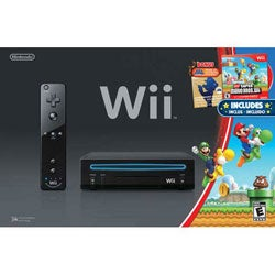 Wii - Black Wii System w/ New Super Mario Bro