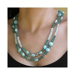 Sterling Silver 'Seashore' Aquamarine and Agate Necklace (India)