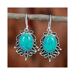 Sterling Silver 'Serene Blooms' Magnesite Earrings (India)